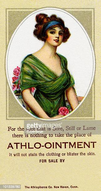 A Victorian medical trade card for 'AthloOintment' accompanied by the text 'For the spot that is Sort Stiff or Lame there is nothing to take the...