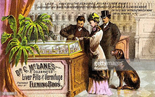 A Victorian medical trade card for Mr C McLane's Celebrated Liver Pills and Vermifuge features an illustration of a pharmacist and two customers The...