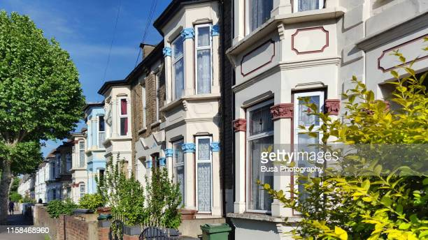 victorian middle-class terraced houses in the district of stratford, east london, england - east london stock pictures, royalty-free photos & images