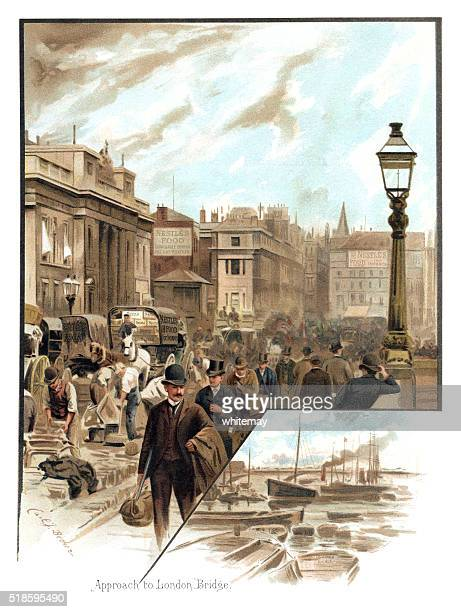 Victorian people and traffic approaching London Bridge