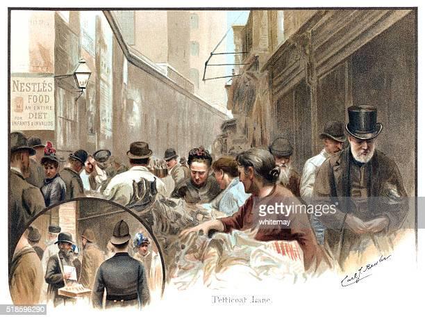 """Viktorianische Personen im """" Unterrock Lane, London"""
