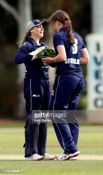 Victorian players Nicole Faltum and Annabel Sutherland during the WNCL match between Victoria and the ACT at Park 25 on September 22 2019 in Adelaide...