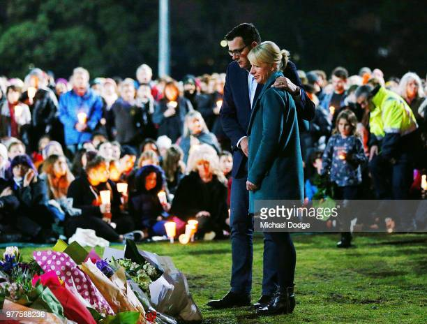 Victorian Premier Daniel Andrews and his wife arrive to pay his respects during a vigil held in memory of murdered Melbourne comedian 22yearold...