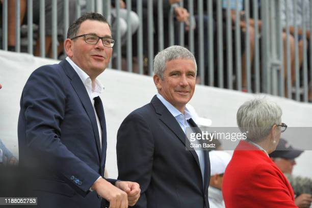 Victorian Premier Daniel Andrews and PGA TOUR Commissioner Jay Monahan during the first round fourball matches of the Presidents Cup at The Royal...