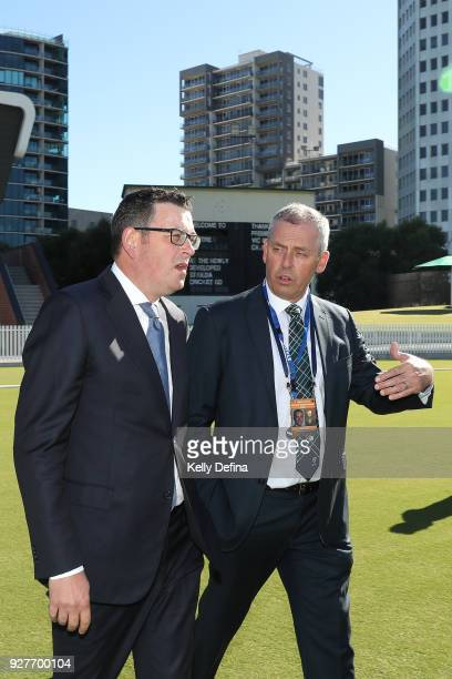Victorian Premier Daniel Andrews and Tony Dodemaide Chief Executive of Cricket Victoria tour the newly unveiled facilities of the Victorian Cricket...