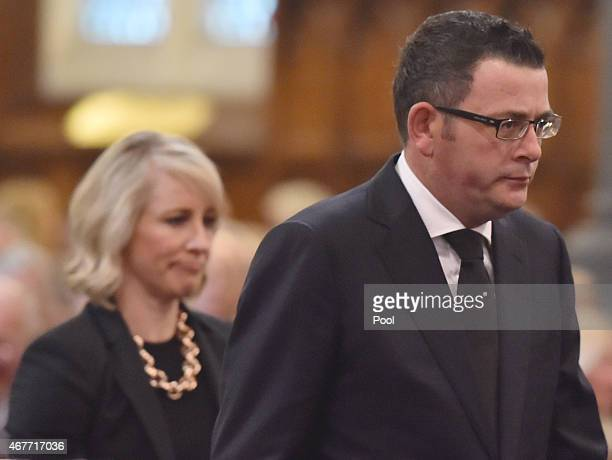 Victorian Premier Daniel Andrews and wife Catherine Andrews attend the funeral of former Australian Prime Minister Malcolm Fraser on March 27 2015 in...