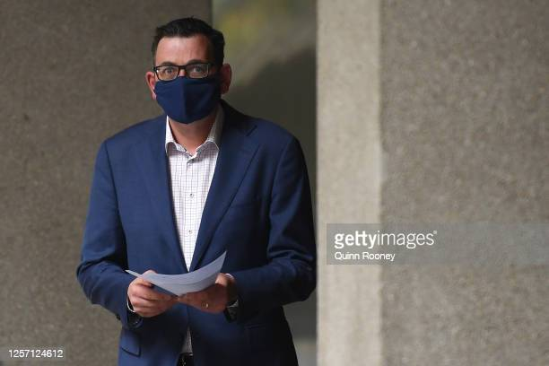 Victorian Premier Daniel Andrews enters the press conference wearing a face mask on July 20, 2020 in Melbourne, Australia. Victoria has recorded 275...