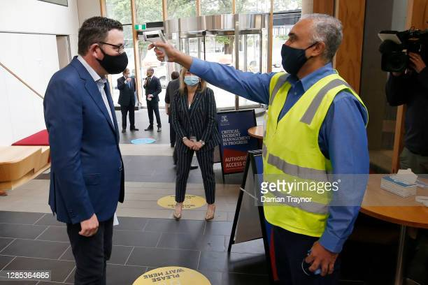 Victorian Premier Daniel Andrews has his temperature checked at The Doherty Institute on November 13, 2020 in Melbourne, Australia. Victoria has...