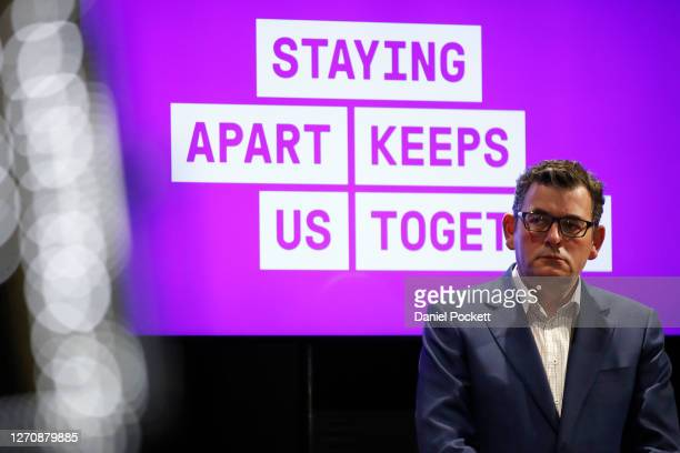 Victorian Premier Daniel Andrews looks on during a press conference on September 06, 2020 in Melbourne, Australia. Victorian Premier Daniel Andrews...