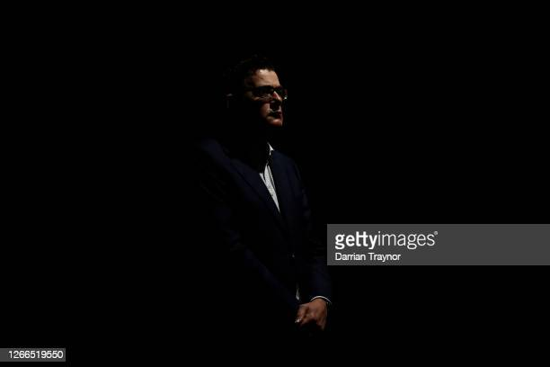 Victorian Premier Daniel Andrews looks on during the daily briefing on August 16, 2020 in Melbourne, Australia. 279 new cases of COVID 19 were...