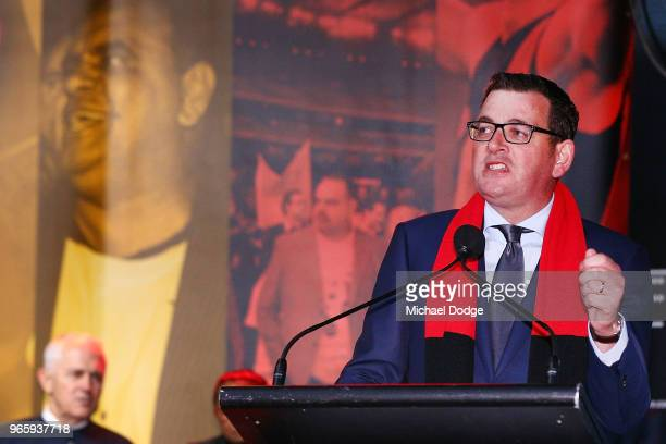 Victorian Premier Daniel Andrews speaks during The Long Walk before during the round 11 AFL match between the Essendon Bombers and the Richmond...