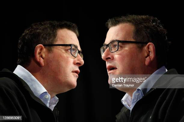 Victorian Premier Daniel Andrews speaks to the media at the daily briefing on July 19, 2020 in Melbourne, Australia. Metropolitan Melbourne and the...