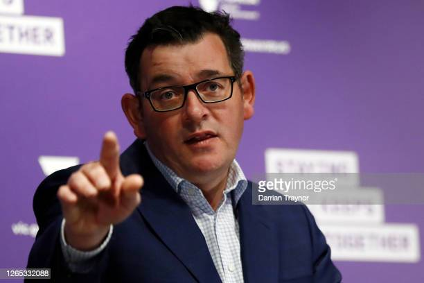 Victorian Premier Daniel Andrews speaks to the media at the daily briefing on August 12, 2020 in Melbourne, Australia. Victoria has recorded 410 new...