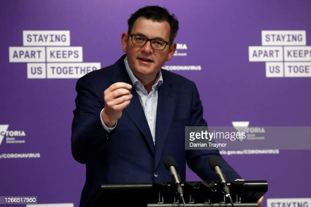 Victorian Premier Daniel Andrews speaks to the media at the daily briefing on August 16, 2020 in Melbourne, Australia. 279 new cases of COVID 19 and...