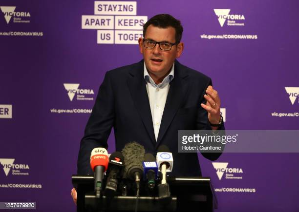 Victorian Premier Daniel Andrews speaks to the media during a press conference on July 23, 2020 in Melbourne, Australia. Face masks or face coverings...