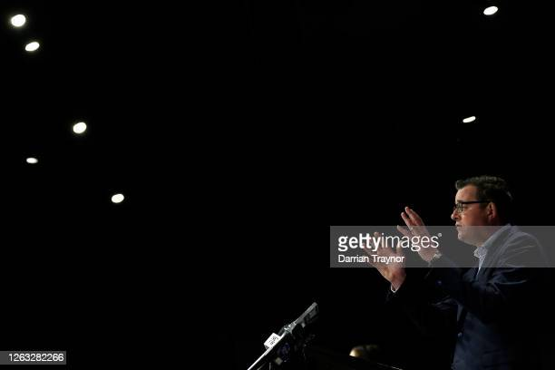 Victorian Premier Daniel Andrews speaks to the media during a press conference on August 02, 2020 in Melbourne, Australia. Victorian Premier Daniel...