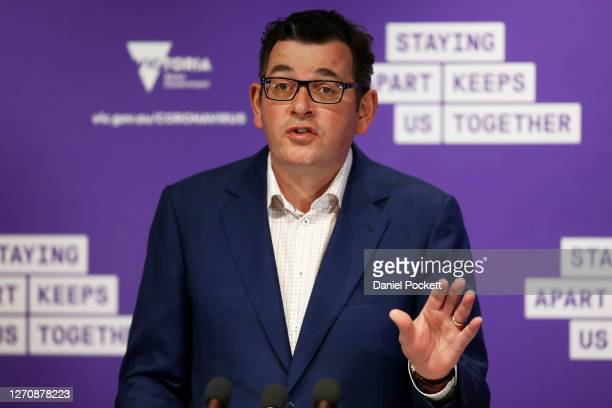 Victorian Premier Daniel Andrews speaks to the media during a press conference on September 06, 2020 in Melbourne, Australia. Victorian Premier...