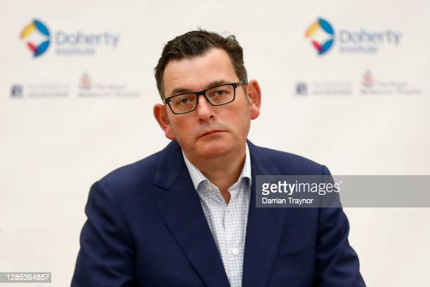 Victorian Premier Daniel Andrews speaks to the media during a press conference at The Doherty Institute on November 13, 2020 in Melbourne, Australia....