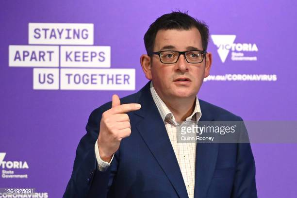 Victorian Premier Daniel Andrews speaks to the media on August 10, 2020 in Melbourne, Australia. Metropolitan Melbourne is under stage 4 lockdown...