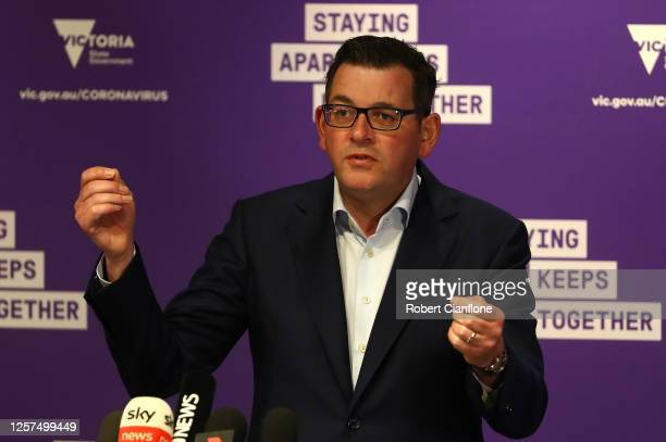 Victorian Premier Daniel Andrews speaks to the media on July 22, 2020 in Melbourne, Australia. Victoria has recorded 484 new cases of coronavirus....