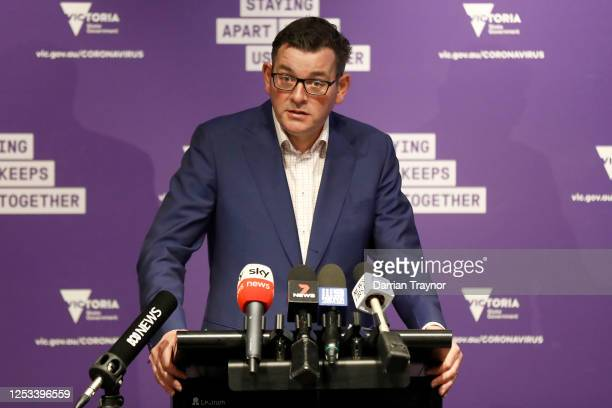 Victorian premier Daniel Andrews speaks to the media on June 30, 2020 in Melbourne, Australia. Victorian premier Daniel Andrews has announced an...