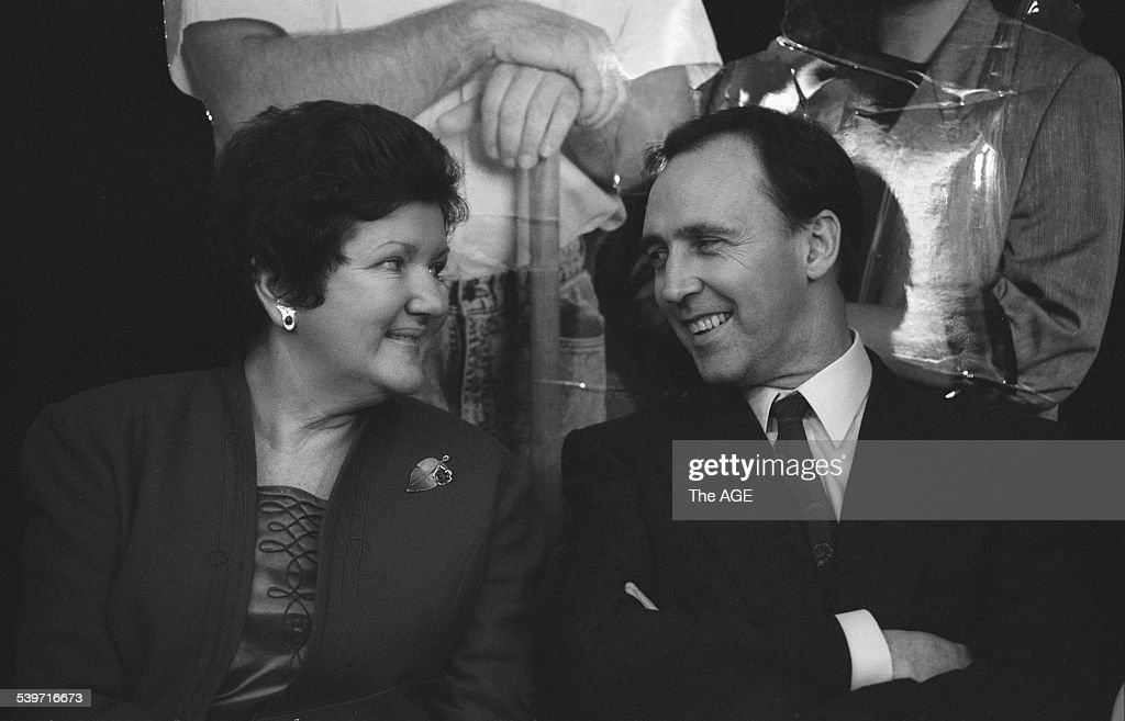 Victorian Premier Joan Kirner and the Prime Minister Paul Keating at the launch of the 'Life Be In It' initiative to provide employment, 23 June 1992. THE AGE NEWS Picture by RAY