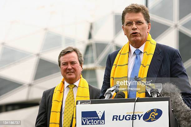 Victorian Premier Ted Baillieu speaks as John O'Neill Managing Director and CEO of ARU watches on during a 2013 British Irish Lions Tour Press...