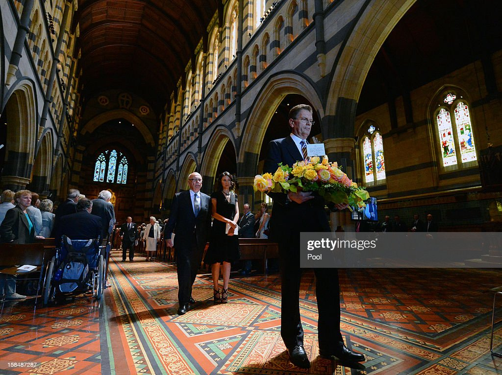 Victorian Premier Ted Baillieu walks ahead of Rupert Murdoch and Wendi Deng at a memorial service for Dame Elisabeth Murdoch at St. Pauls Cathederal on December 18, 2012 in Melbourne, Australia. Dame Murdoch passed away on December 5th, aged 103.