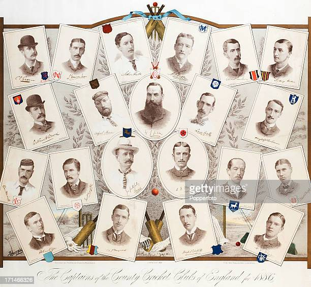 A Victorian print featuring the Captains of the County Cricket Clubs of England with individual portraits accompanied by facsimile signatures circa...