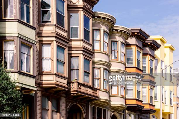 victorian residential townhouses in san francisco, california, usa - north beach san francisco stock pictures, royalty-free photos & images