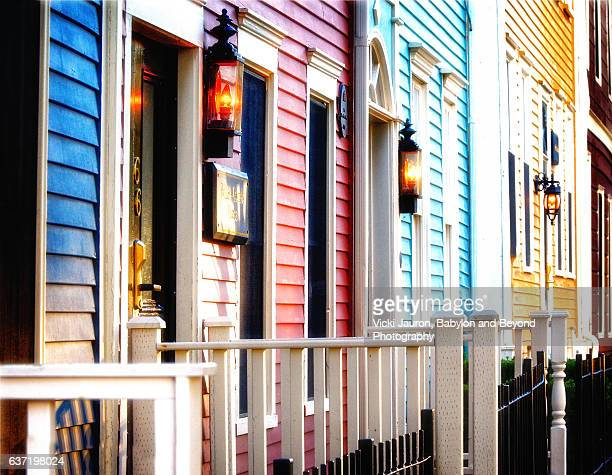 victorian row houses in charlottown, prince edward island - shunting yard stock photos and pictures