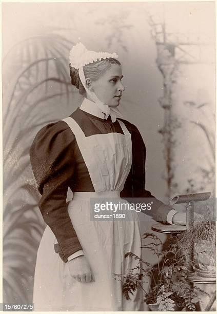 Victorian servant woman vintage photograph