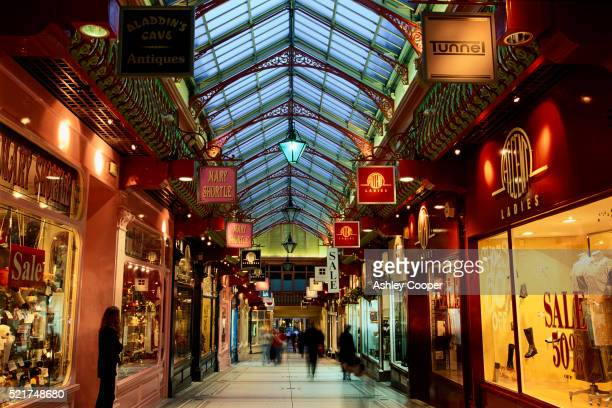 victorian shopping arcade - leeds stock pictures, royalty-free photos & images