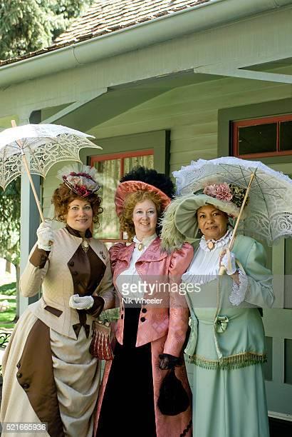 Victorian Society members in period costume in grounds of Sharlot Hall Museum, Prescott Arizona