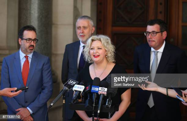 Victorian Special Minister of State Gavin Jennings Victorian Premier Daniel Andrews and Health Minister Jill Hennessy speak to the media after the...