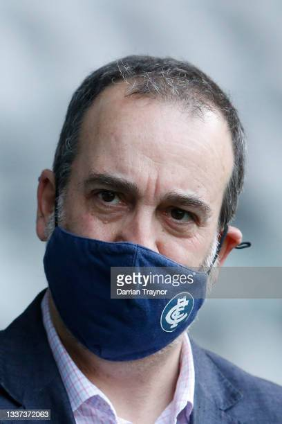 Victorian Sports Minister Martin Pakula looks on during an AFL press conference at Marvel Stadium on August 31, 2021 in Melbourne, Australia.