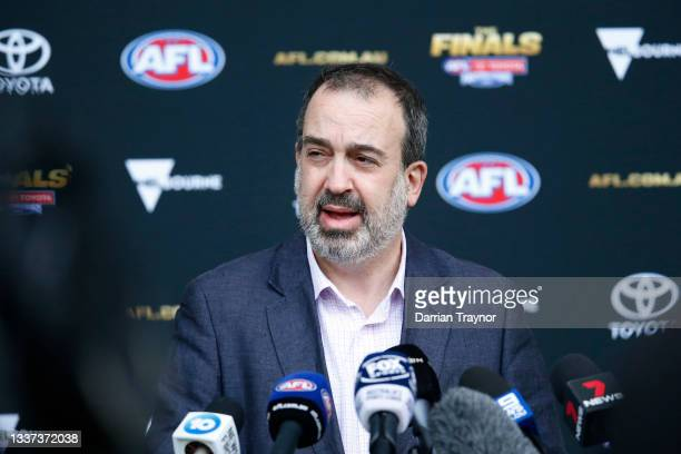 Victorian Sports Minister Martin Pakula speaks to the media during an AFL press conference at Marvel Stadium on August 31, 2021 in Melbourne,...