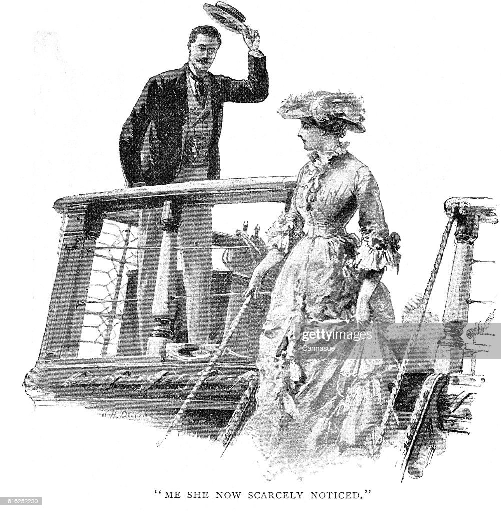 Victorian story illustration William Heysham Overend; man lady ship deck : Foto de stock