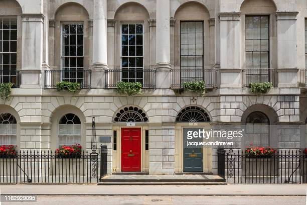 victorian style buildings in fitzroy square, london, england. - british culture stock pictures, royalty-free photos & images