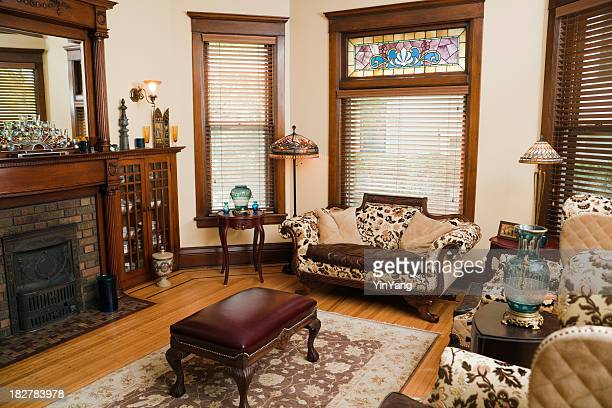 victorian style living room, old-fashioned, antique domestic residential home interior - persian rug stock photos and pictures