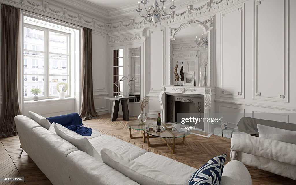 Exceptional Victorian Style Living Room With Modern Furniture Stock Photo