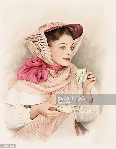 victorian style. tea-time. - victorian erotica stock photos and pictures