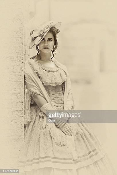 victorian styled woman - victorian style stock pictures, royalty-free photos & images