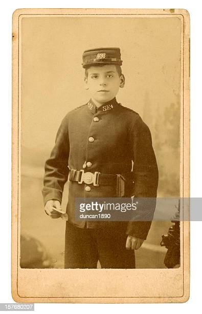 victorian telegram messenger boy - shoulder bag stock pictures, royalty-free photos & images