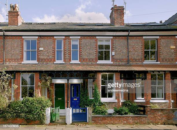 victorian terrace, didsbury, manchester, uk-more buildings exteriors below - manchester uk stock photos and pictures