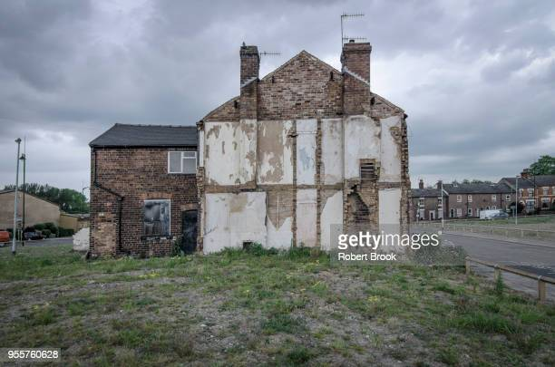 victorian terrace houses - stoke on trent stock photos and pictures