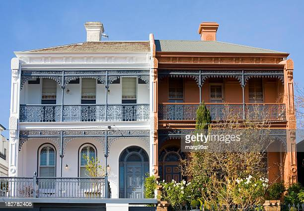 victorian terraces - melbourne australia stock pictures, royalty-free photos & images