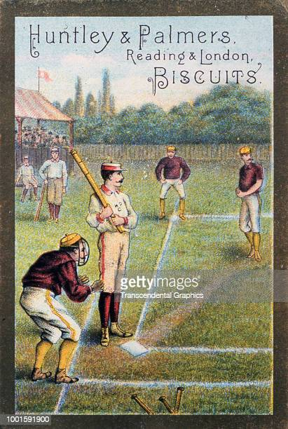 Victorian trade card advertises Huntley and Palmers Biscuits as features an illustration of onfield action during a baseball game London England late...