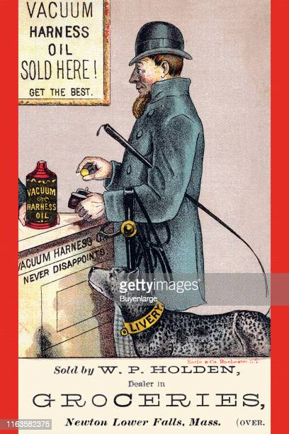 Victorian trade card advertises Vacuum Harness oil 1889 It depicts a man as he purchases a bottle of the oil while his dog whose collar reads...