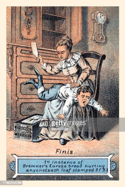 Victorian trade card for a bread / cracker DF Bremners Crackers 'Finis,' 1889. The image shows a boy being spanked for stealing the crackers and...